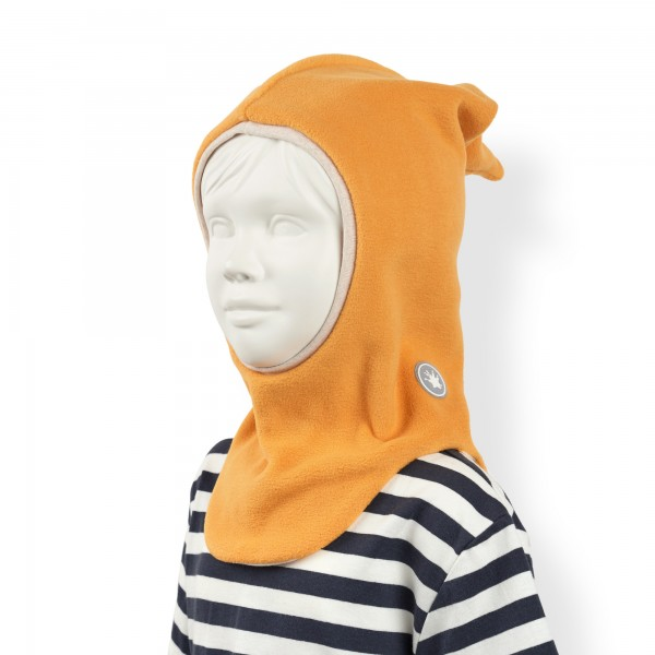 Fleece hat with ear and neck protection, yellow