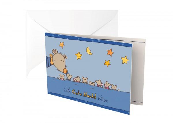 Baby Glückwunschkarte Gib Gute Nacht Küsse!