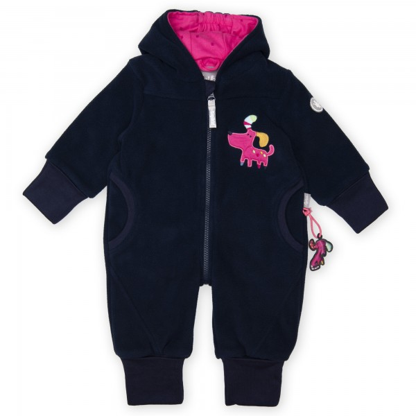 Dunkelblauer Baby Fleece Overall mit Kapuze