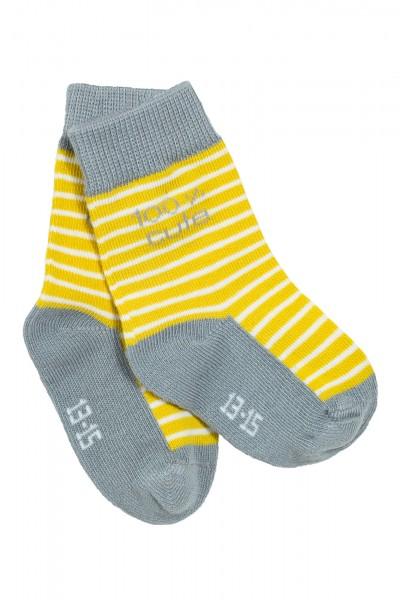 Gestreifte Babysöckchen, grau-gelb
