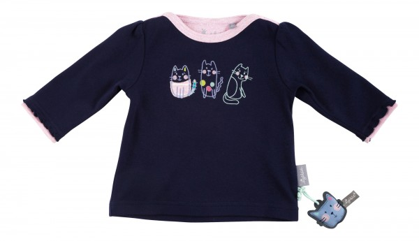 Baby Langarmshirt mit Katzenapplikation