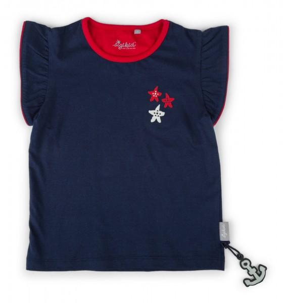 Mädchenshirt marine mit Rüschenärmeln
