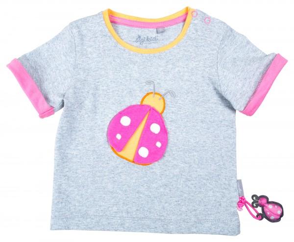 Grau meliertes Mädchen T-Shirt mit Käfermotiv