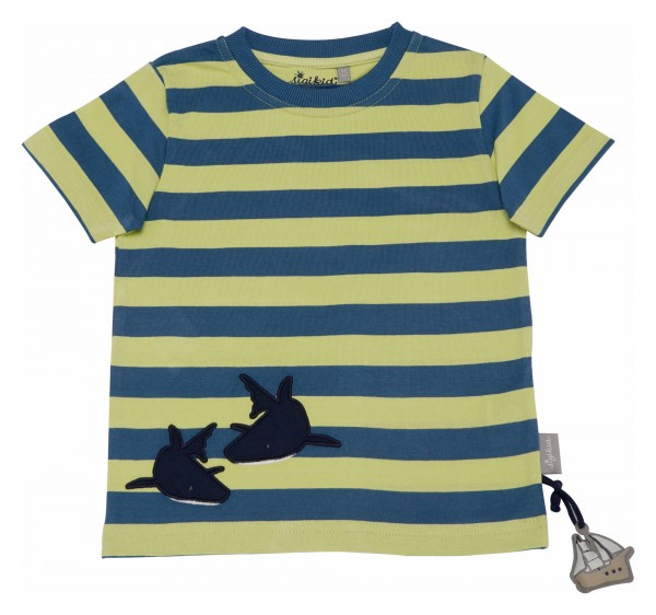 Kurzarm Streifenshirt mit Hai Motiv