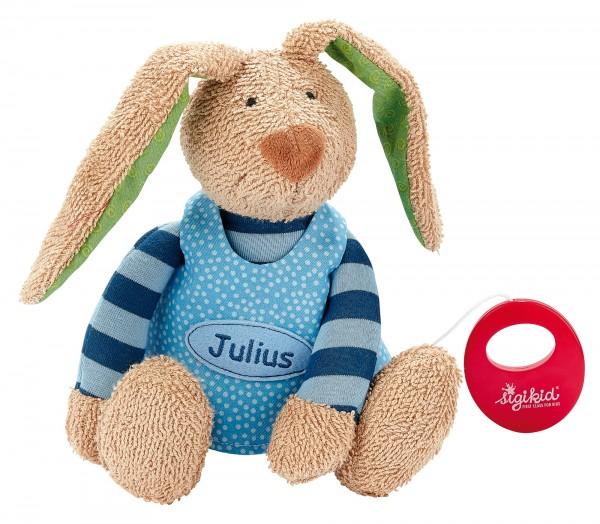 Spieluhr Hase blau, personalisiert