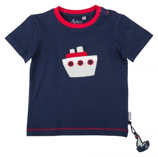 Blaues Jungen T-Shirt mit Schiff Motiv