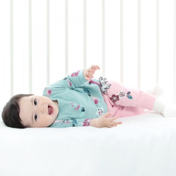 Baby girl sweat pants with flower embroidery