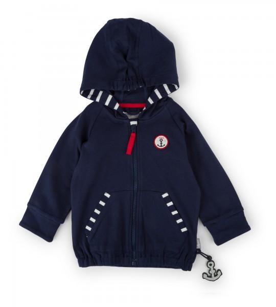 Blaue Babyjacke mit Kapuze für Mädchen