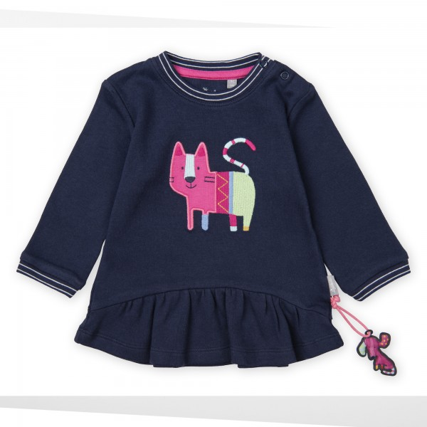 Dunkelblaues Baby Langarmshirt mit Volant