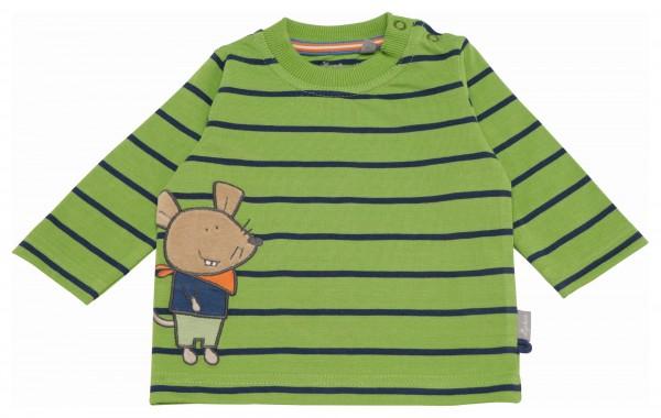 Grünes Langarmshirt mit blauen Streifen