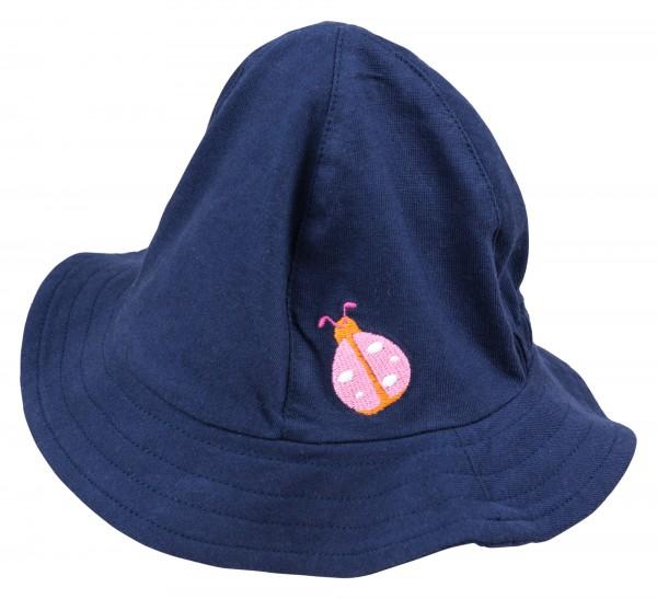 Blaue Mädchenmütze mit Krempe