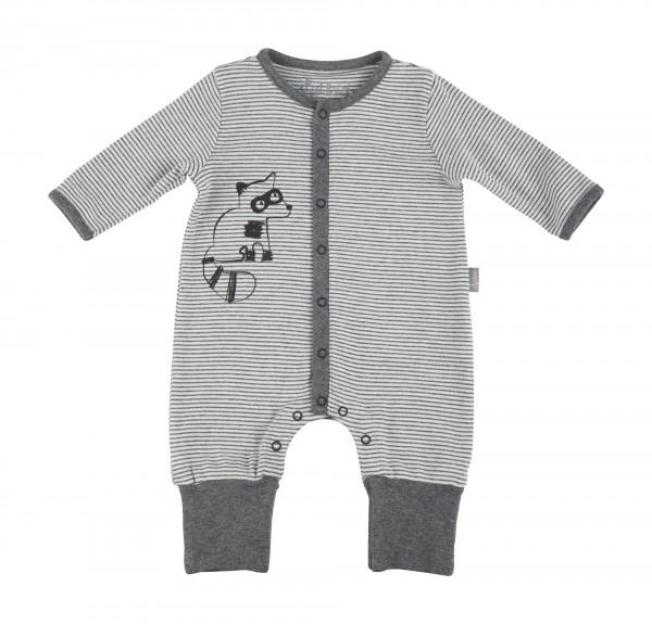 Flauschiger Baby Overall grau gestreift