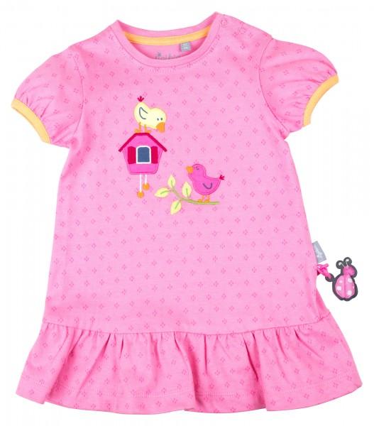 Pinkes Kleid mit Frühlingsmotiven