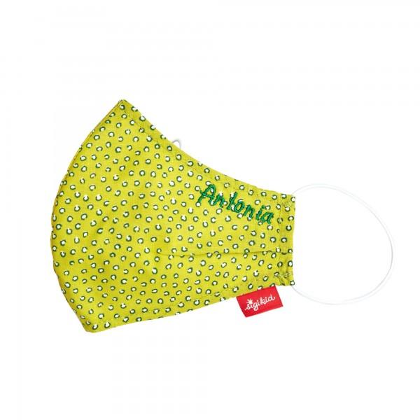 Gesichtsmaske für Kinder mit Namen individualisierbar - Grün