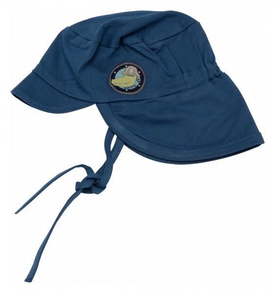 Blaue Babymütze mit Nackenschutz
