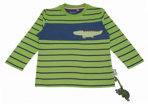 Gestreiftes Langarmshirt mit Krokodil Motiv