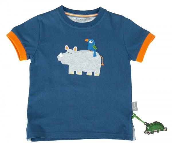 Blaues T-Shirt mit Nashorn Motiv