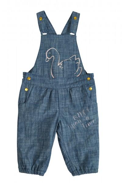 Softe Baby Jeans-Latzhose mit Motiv