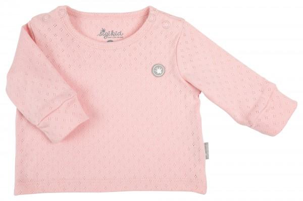 Rosa Babypulli mit Ajourmuster
