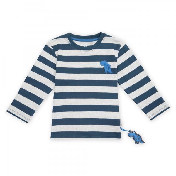 Langarmshirt grau-blau gestreift