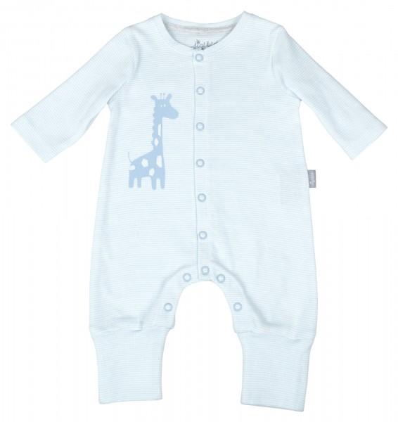 Blau geringelter Babyoverall mit Motiv