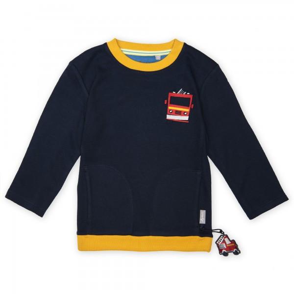 Dunkelblaues Langarmshirt mit Feuerwehr Motiv