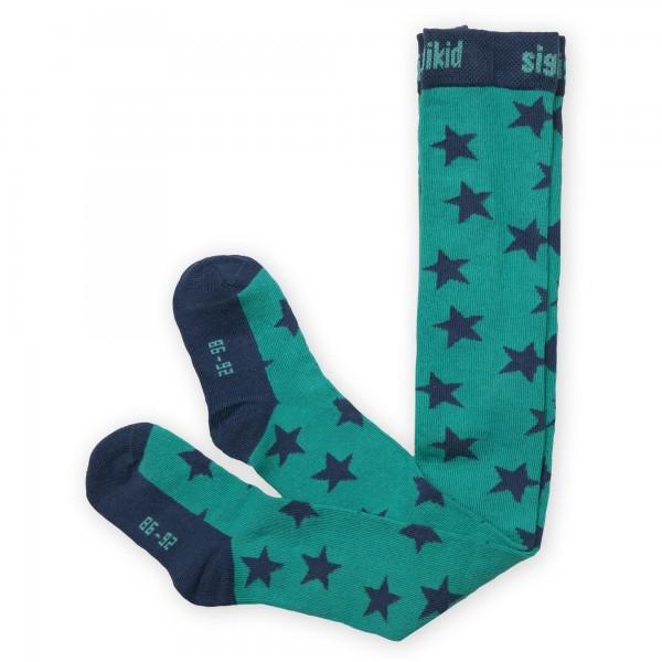 Grüne Strumpfhose mit Sternen