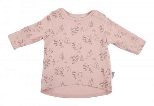 Baby Langarmshirt mit rosa Waschbär