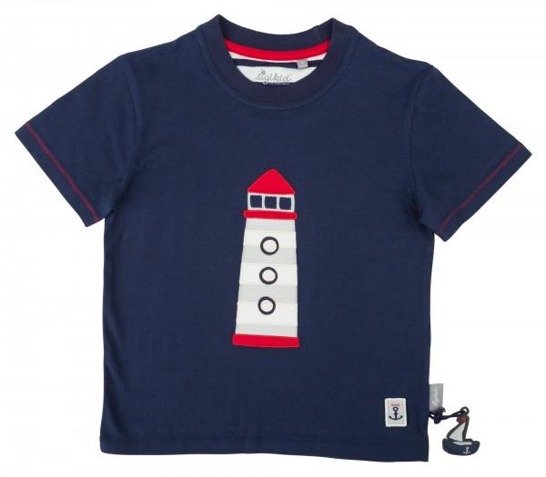 Blaues Jungen T-Shirt mit Leuchturm Motiv