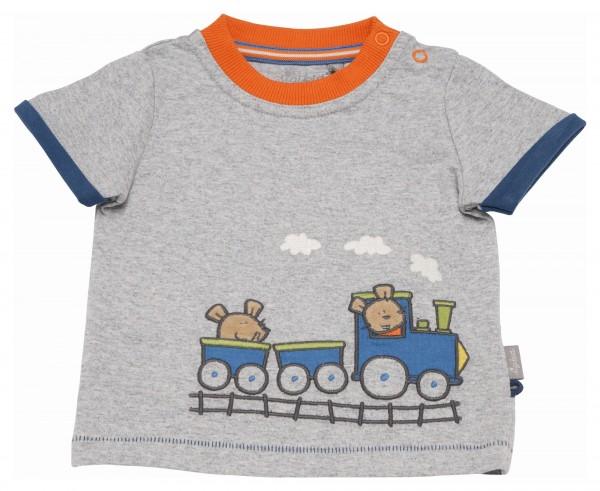 Grau meliertes T-Shirt mit Eisenbahn Motiv