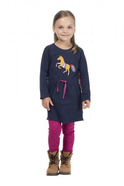 Mädchenkleid dunkelblau mit Pferde Motiv