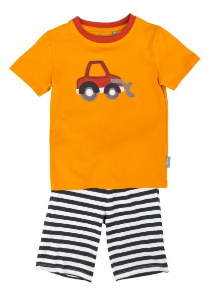 Kurzer Jungen Schlafanzug mit Bagger Motiv