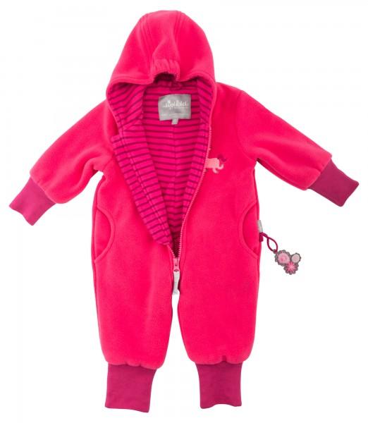 Pinker Baby Fleeceoverall gefüttert