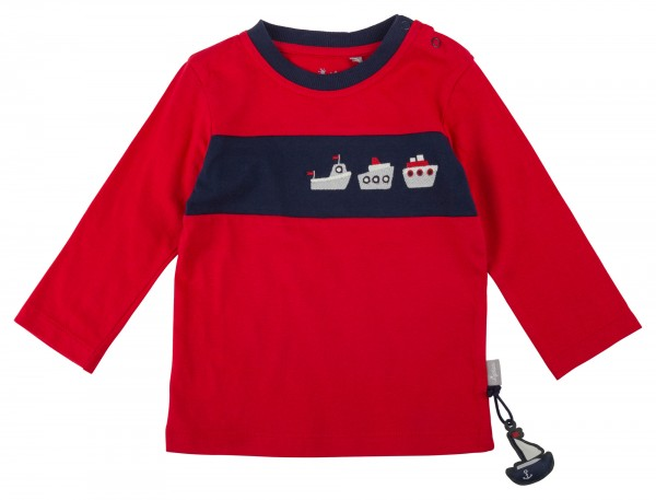 Rotes Langarmshirt mit Colour Blocking