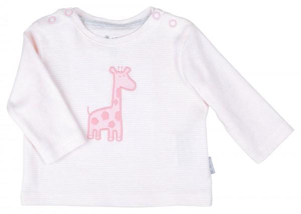 Rosa Baby Ringelshirt mit Giraffenmotiv