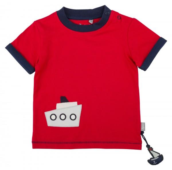 Rotes Jungen T-Shirt mit Schiff Motiv