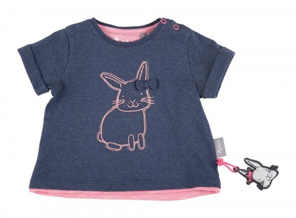 SIGIKID Blau meliertes Babyshirt mit Schleife