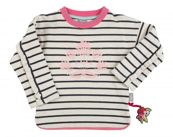 Gestreiftes Sweatshirt mit Rüschenärmeln