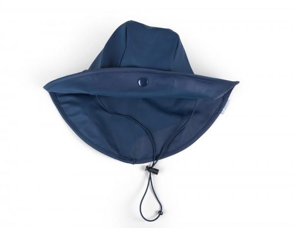 Blaue Regenmütze mit Nackenschutz